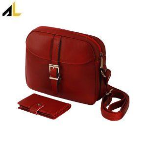کیف چرم زنانه رودوشی ست هدیه کد ALZ063 - کیف چرم رودوشی زنانه